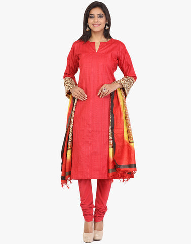 Self Thread Embroidered Jaal Tussar Suit By Meena Bazaar