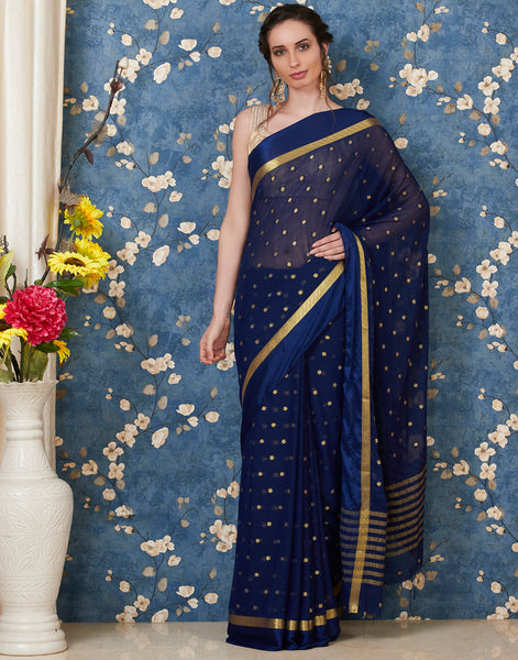 Navy Blue Art Chiffon Plain Woven Saree