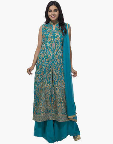 All-Over Zari Thread Embroidered Georgette Anarkali Suit With Palazzo By Meena Bazaar