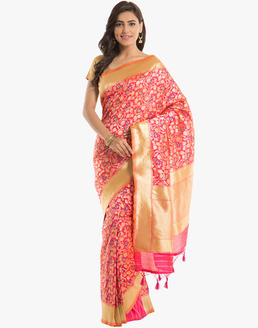 Banarasi Silk Saree With Jacobean Zari Weave By Meena Bazaar