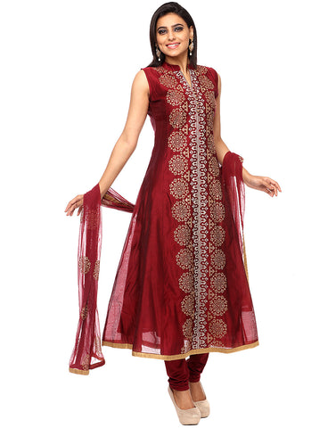 Thread Embroidered A-Line Cotton Chanderi Suit By Meena Bazaar