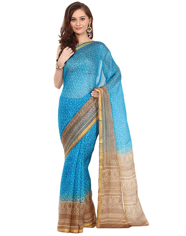 Geometrical Printed Cotton Kota Saree By Meena Bazaar