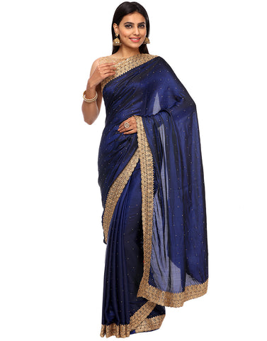 Dupion Silk Saree With Zari Thread Embroidered Border By Meena Bazaar