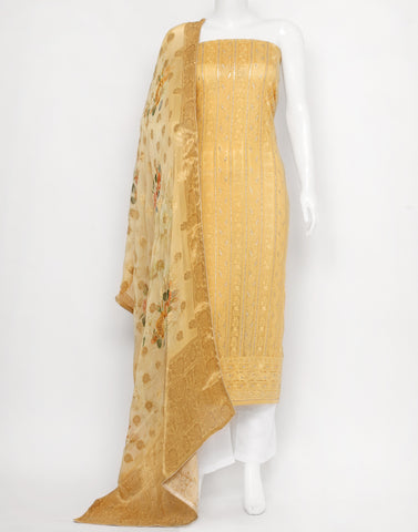 Mustard Art Chiffon Suit Set