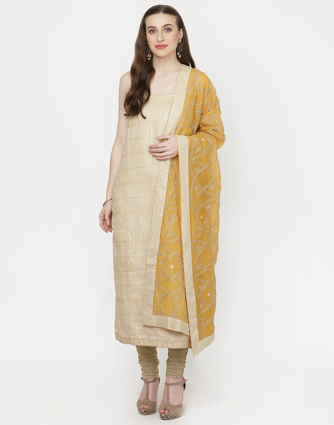 Beige Mustard Cotton Suit Set