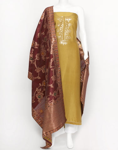 Mustard Wine Cotton Chanderi Suit Set