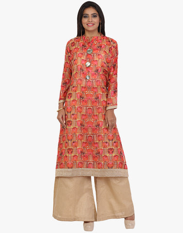 Geometrical Printed Cotton Chanderi Suit With Palazzo By Meena Bazaar