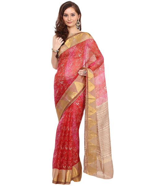 Leaf Print Cotton Kota Saree By Meena Bazaar