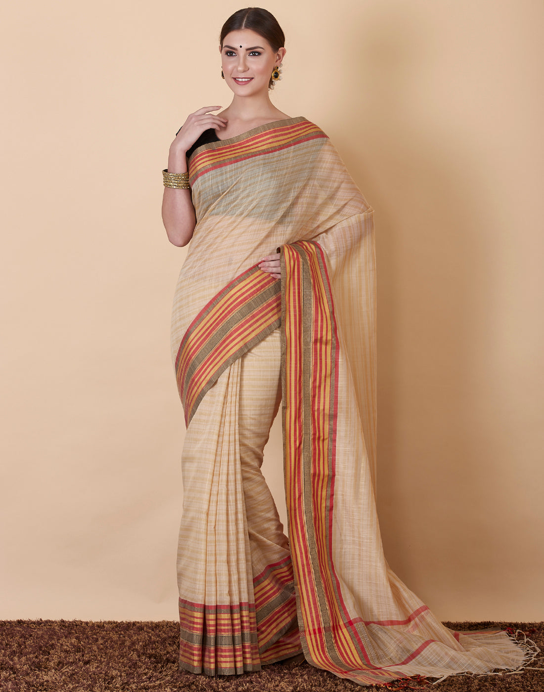 Cream Cotton Woven Saree