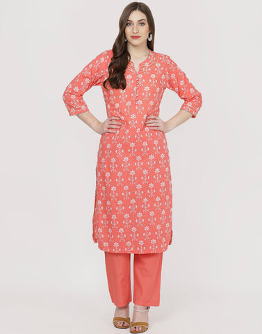 Coral Cotton Kurti with Palazzo