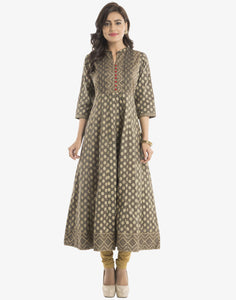 Khari Printed Anarkali Cotton Kurti  By Meena Bazaar