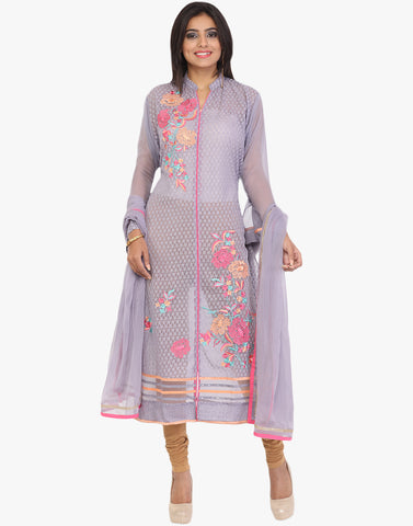 Unstitched Floral Thread Embroidered Georgette Suit By Meena Bazaar