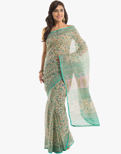 Floral Printed Cotton Kora Saree By Meena Bazaar