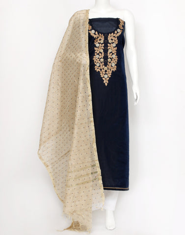 Navy Blue Cotton Chanderi Suit Set
