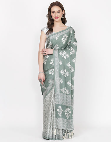Aqua Printed Satin Saree
