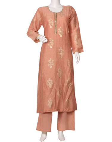 Dusty Pink Cotton Kurti with Palazzo