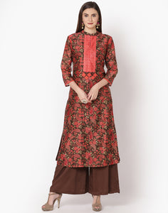 Brown Peach Cotton Chanderi Kurti with Palazzo