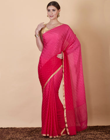 Hot Pink Plain Crepe Saree