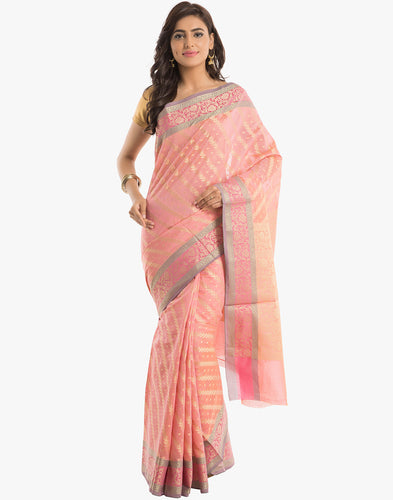 Cotton Woven Saree With All-over Zari Jaal and Floral Border By Meena Bazaar