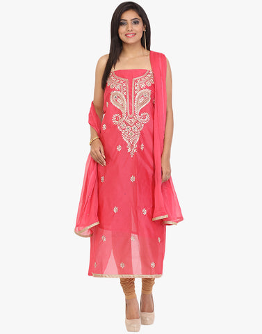 Unstitched Cotton Chanderi Suit With Gota Embroidered Yoke By Meena Bazaar