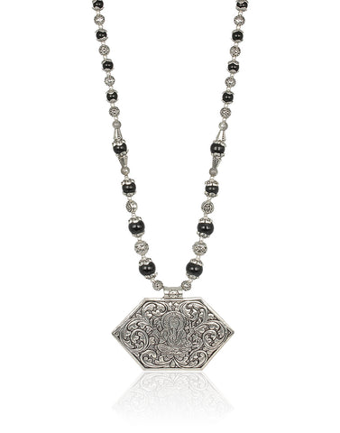 Ganesha Temple Necklace in Oxidised Silver By Meena Bazaar
