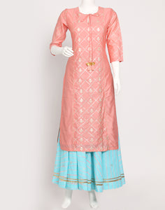 Peach Pink Firozee Cotton Kurti with Palazzo
