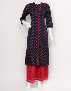 Navy Blue Rani Art Handloom Kurti with Palazzo