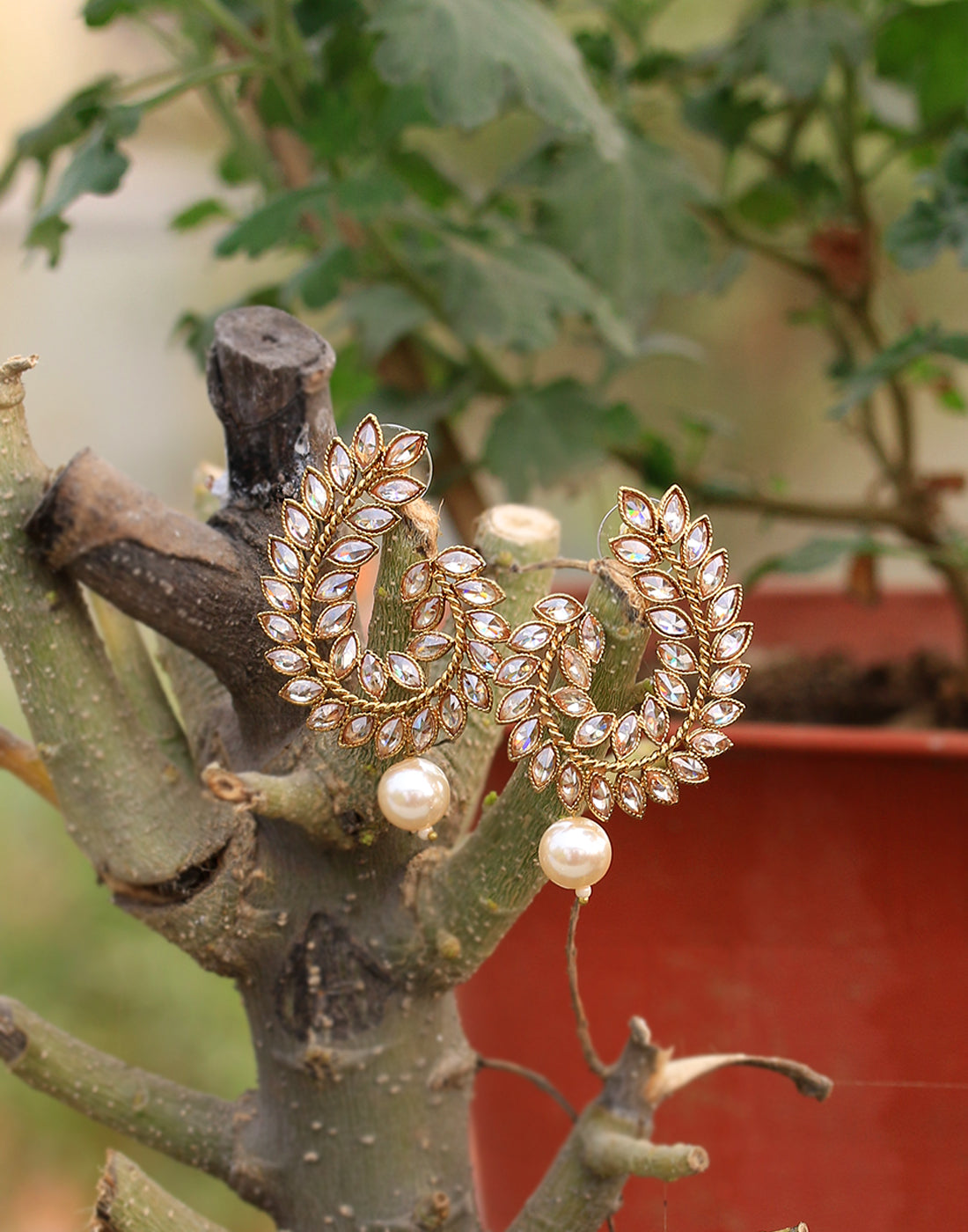Golden-tone Diamond Studded Drop Earrings