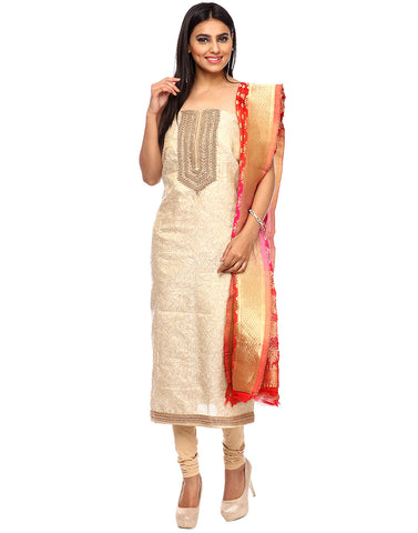 Unstitched Cotton Tissue Suit With Embroidered Yoke By Meena Bazaar
