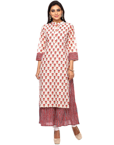 Double Layered Floral Printed Cotton Chanderi Kurti By Meena Bazaar