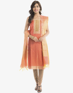 Unstitched Cotton chanderi Suit with Embroidered Yoke By Meena Bazaar