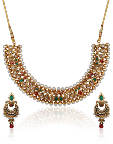 Meena Bazaar: Kundan Necklace Set