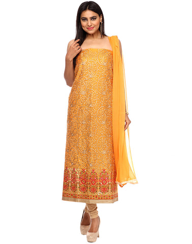 Unstitched Cotton Chanderi suit With All-over Thread Embroidered Paisley Jaal By Meena Bazaar
