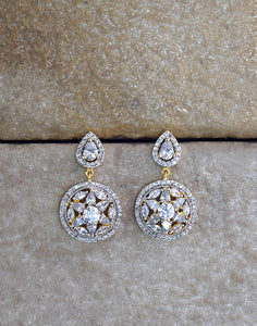 Meena Bazaar: Floral Diamond Drop Earrings