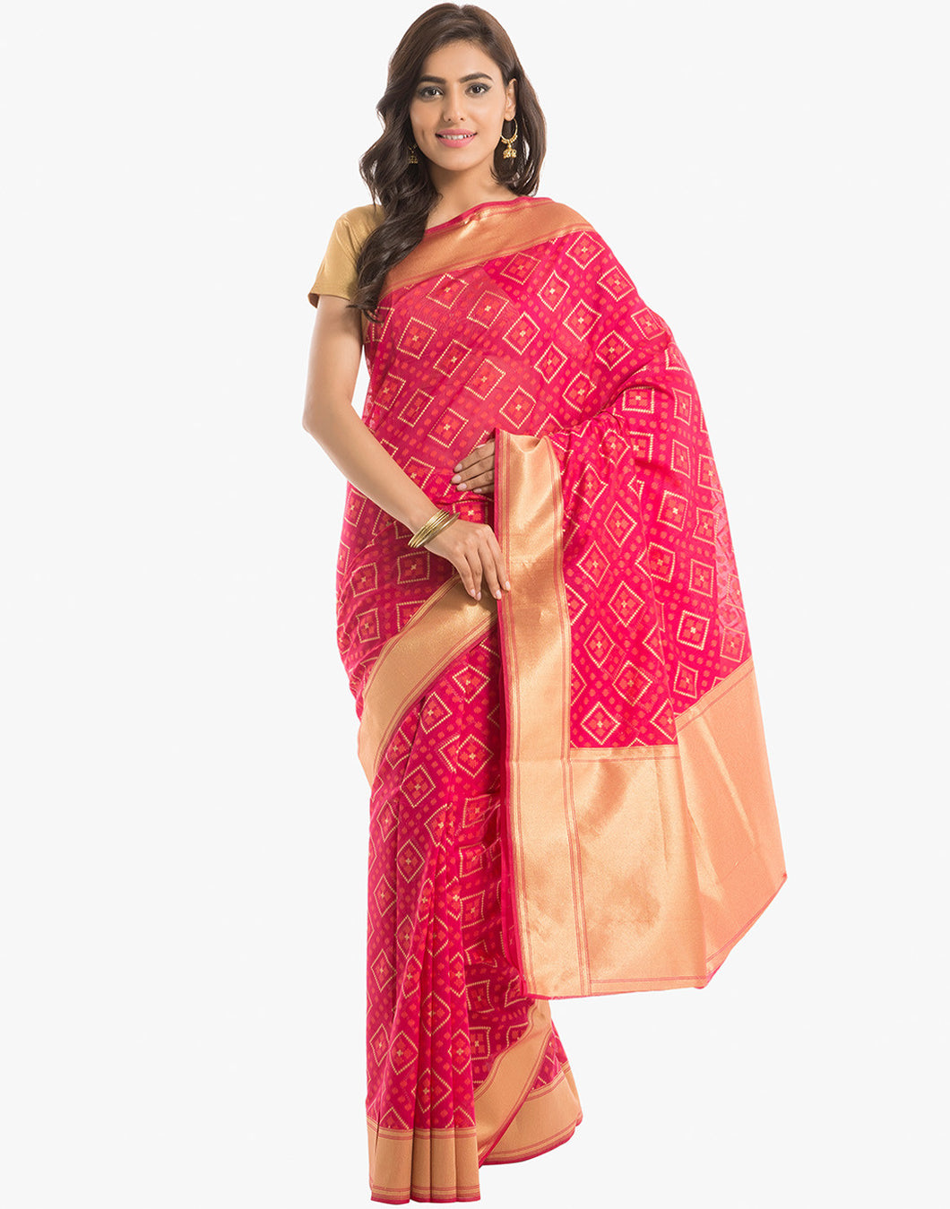 Cotton Saree With Geomerical Weave Pattern By Meena Bazaar