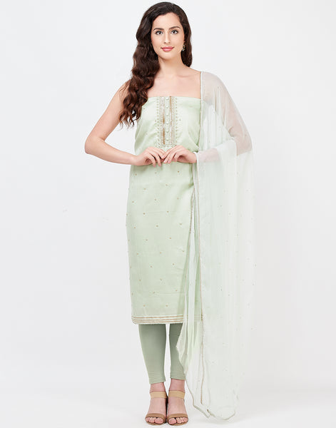 Pista Green Cotton Suit Set
