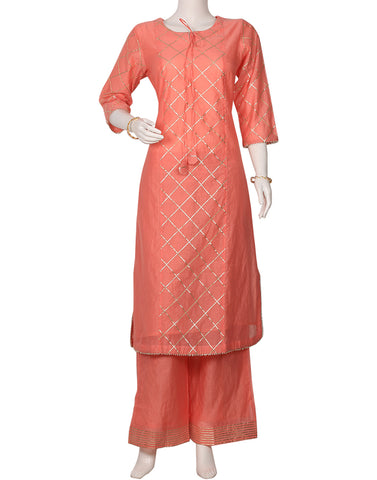 Pink Cotton Chanderi Kurti with Palazzo