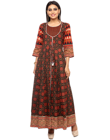 Floral Printed Double Layered Cotton Achkan Kurti By Meena Bazaar
