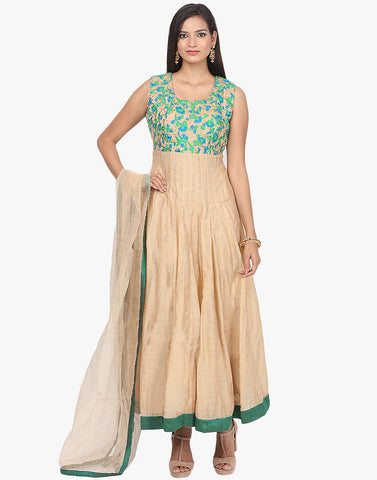 Floral Thread Embroidered Cotton Chanderi Anarkali Suit By Meena Bazaar