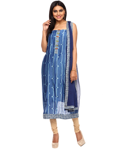 Unstitched Batik Printed Cotton Chanderi Suit By Meena Bazaar