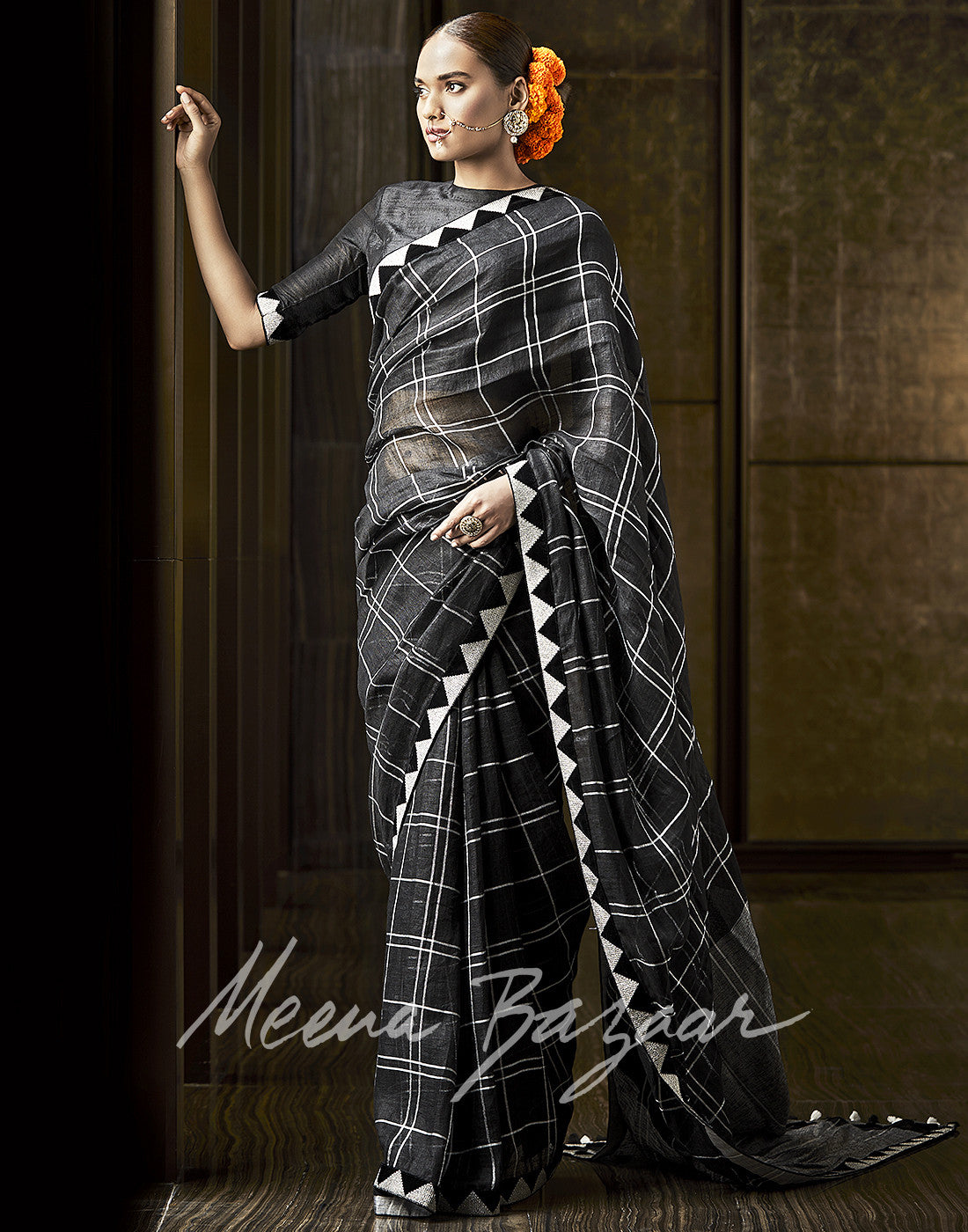 Plain Cotton Linen Saree