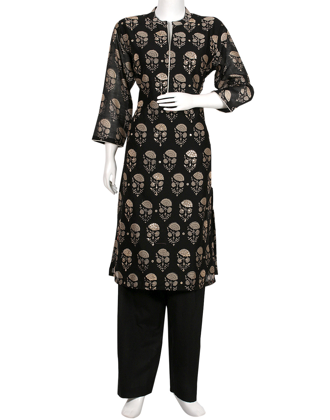 Black Cotton Chanderi Kurti with Palazzo