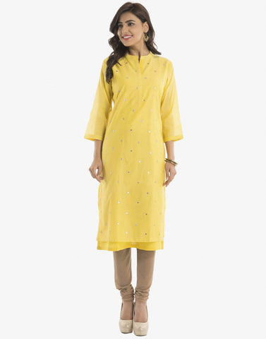 Cotton Chanderi Kurti With All-Over Gotta Booti By Meena Bazaar