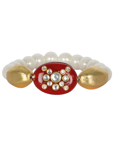 Pearl Bracelet Studded with Kundan Over Ruby Stone By Meena Bazaar