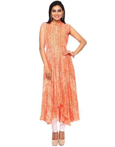 Shibhori Printed Assymetrical Cotton Chanderi Kurti By Meena Bazaar