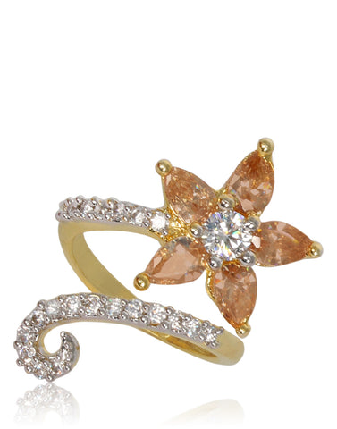 Floral Yellow Saphire Ring Studded With American Diamonds In Gold Finish By Meena Bazaar