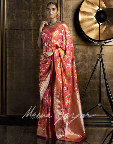 Banarasi Silk Saree With Floral Zari Weave