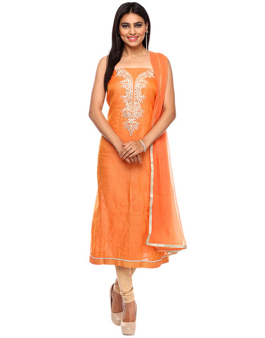 Unstiched Cotton Chanderi Suit With Gotta Embroidered Yoke By Meena Bazaar