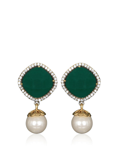 Meena Bazaar: Emerald & Pearl Drop Earrings