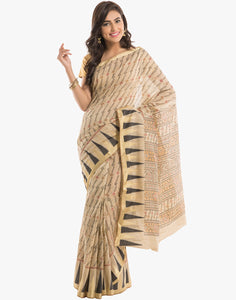 Abstract Printed Cotton Saree with Temple Border By Meena Bazaar